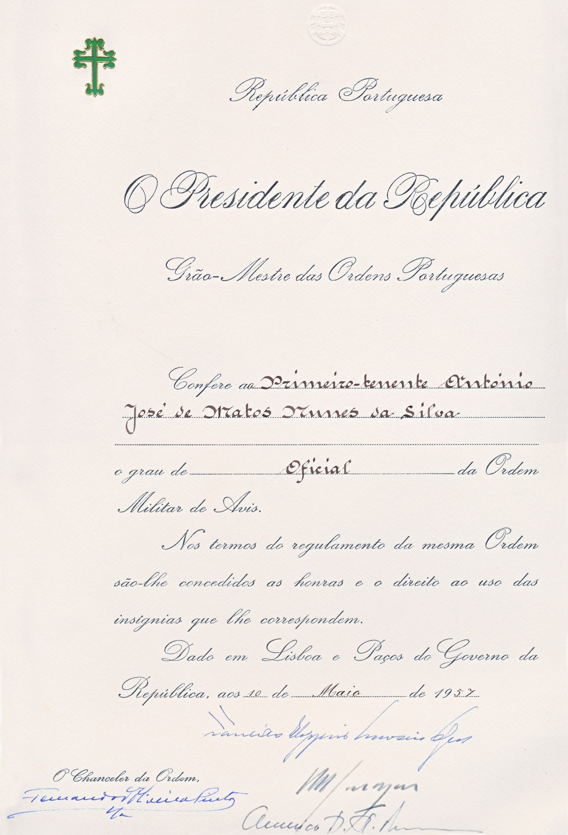 00320 957-05-10 Diploma da minha 1ª condecoração - Oficial da Ordem de Aviz -face