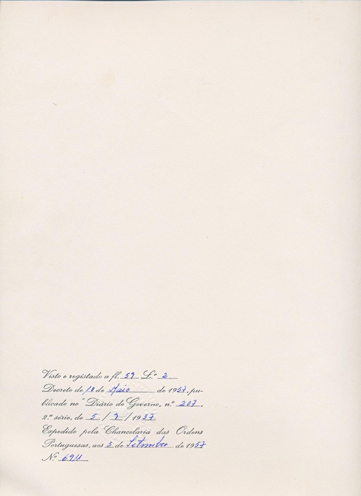 00321 957-05-10 Diploma da minha 1ª condecoração - Oficial da Ordem de Aviz - verso