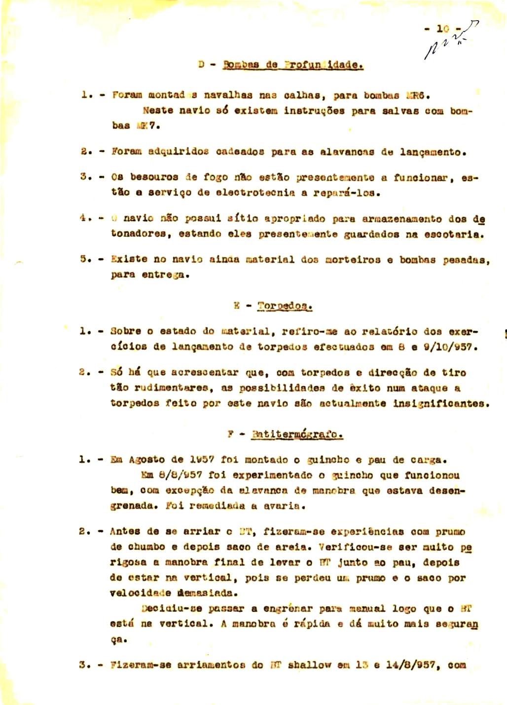 00347 57-10-21 cópia do Relatório do Chefe do Serviço de Armas Submarina do CT Vouga 1º Ten Nunes da Silva-10