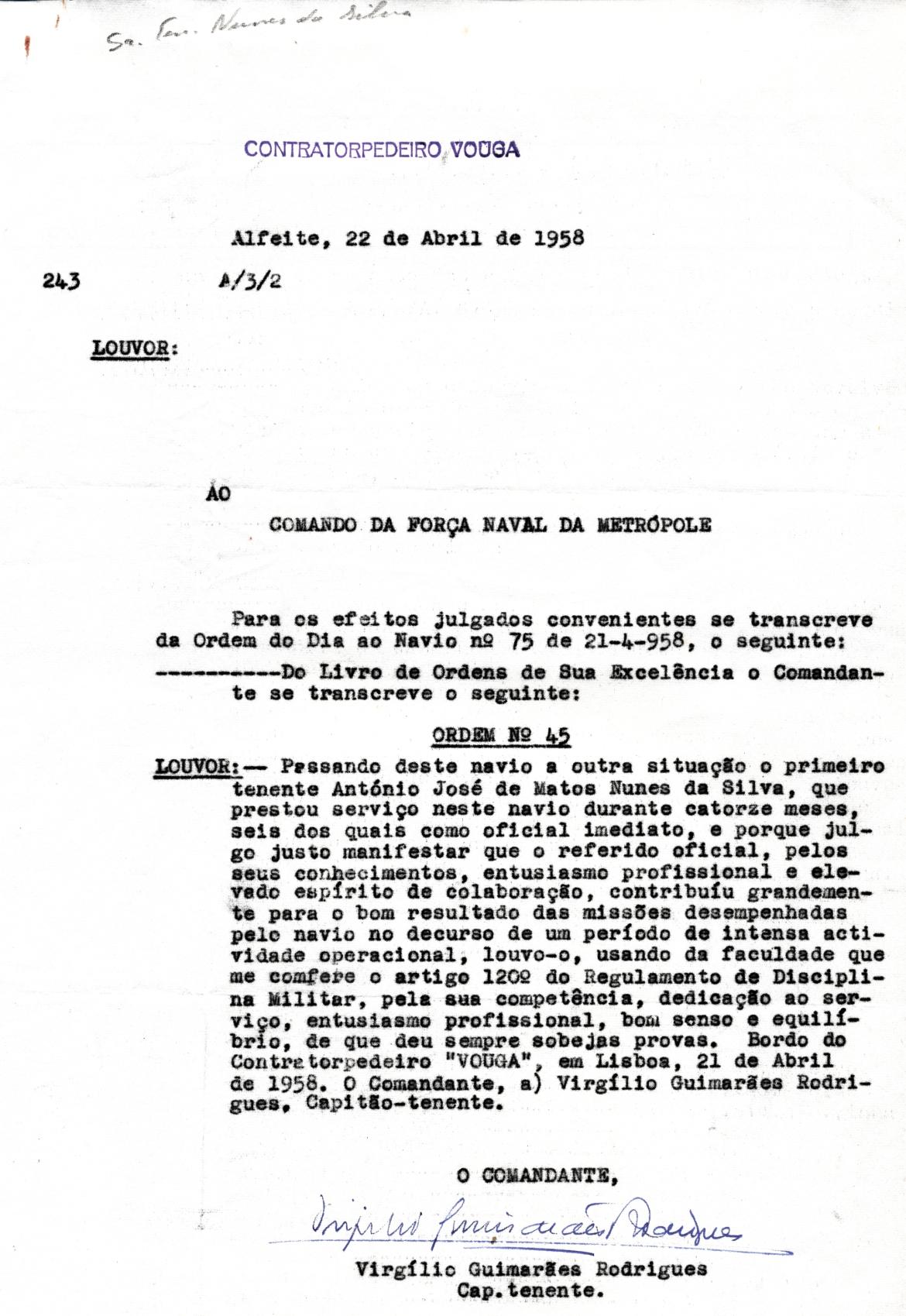00365 958-04-22 cópia da nota do Vouga comunicando o Louvor concedido a 1º ten Nunes da Silva em 21-4-1958