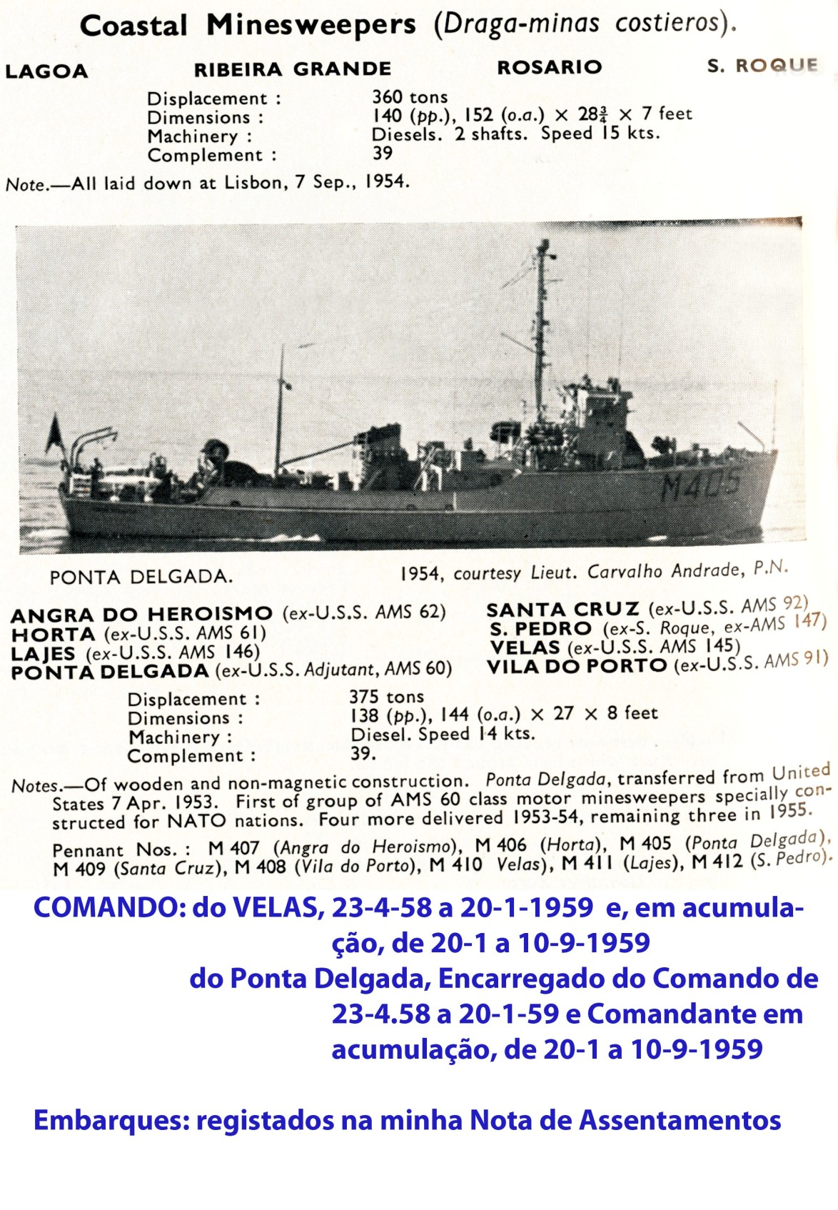 00367 Draga-Minas Costeiros classe Ponta Delgada - Jane's Fighting Ships 1956-57