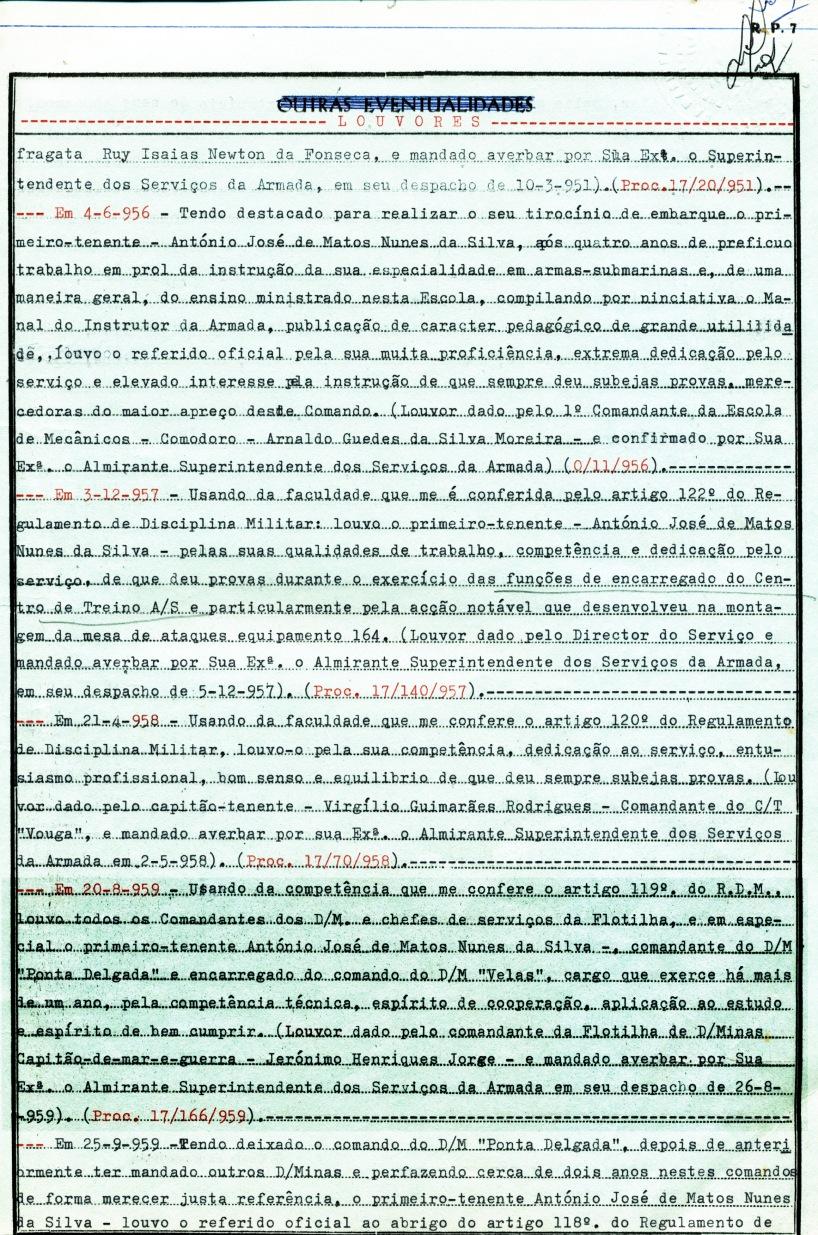 00384 959-08-20 Louvor do Comandante da Flotilha de Draga-Minas - Nota de Assentamentos