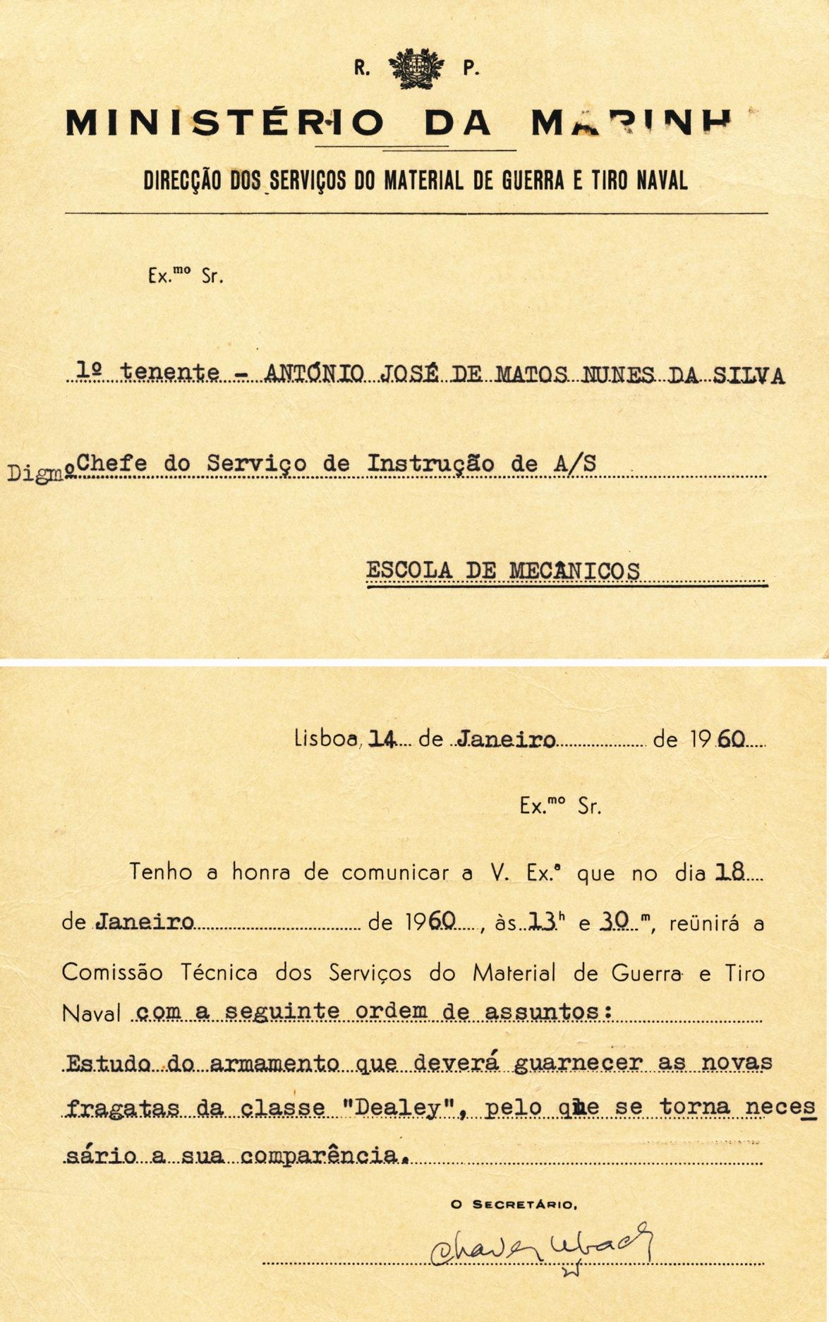 00393 960-01-14 convocado pela DSMGTN para participar na Comissão Técnica, em 18-1-1960 no estudo do armamento das FF classe Dealy