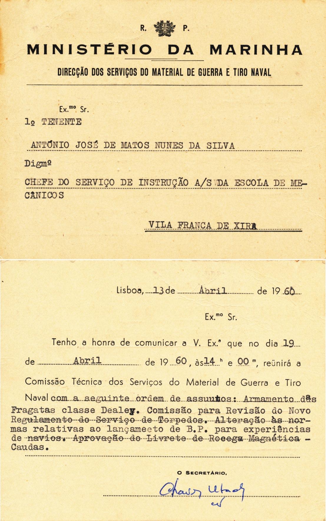 00394 960-04-13 convocado pela DSMGTN para participar na Comissão Técnica no estudo do armamento das FF Dealey