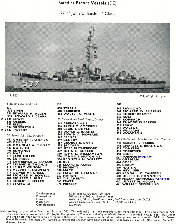 00396 FF classe D Cão ex US DEs classe John C Butler Jane's Fighting Ships 1956-57