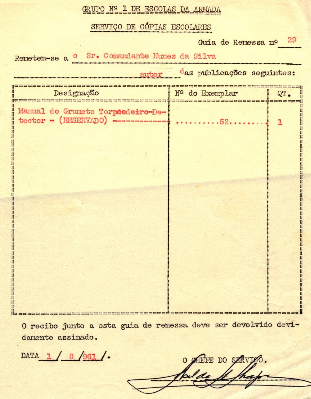00414 961-08-01 nesta data recebi um exemplar do Manual do Grumete Torpedeiro-Detector com autor desse livro -Guia de Remessa