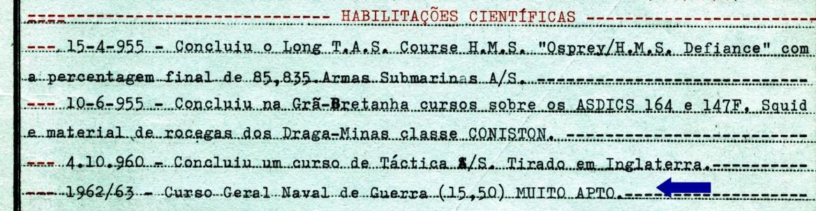 00418 963-02-28 conclusão do Curso Geral Naval de Guerra com a classificação de Muito Apto - Nota de Assentamentos