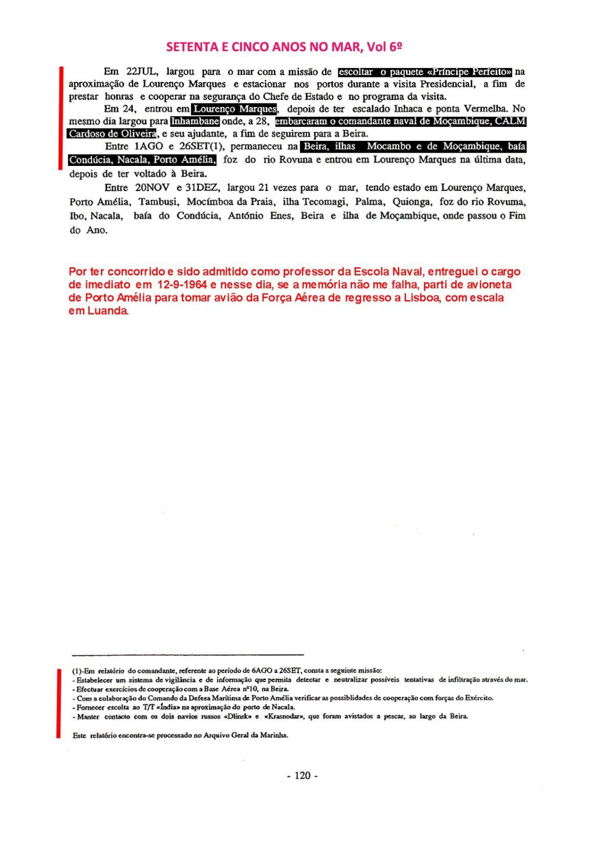 00428 Comissão em Angola e Moçambique como Imediato da FF Pacheco Pereira-Setenta e Cinco Anos no Mar, Vol 6º