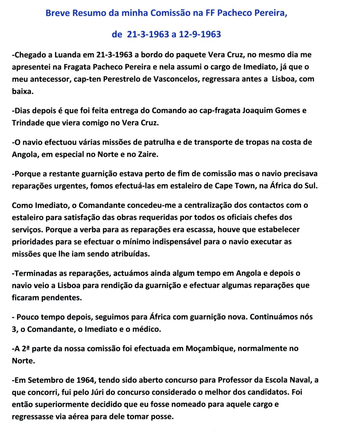 00431 Breve Resumo da minha Comissão na FF Pacheco Pereira