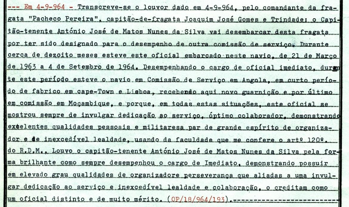 00438 964-09-04 Louvor do Comandante ao Imediato da FF Pacheco Pereira pelas comissões em Angola e Moçambique