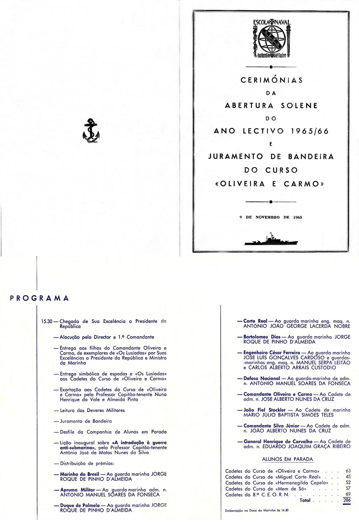 00451 965-11-09 Programa da Abertura do Ano Lectivo 65-66 e Juramento Bandeira Curso Oliveira e Carmo