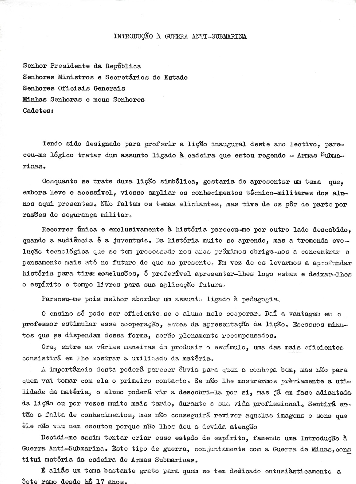 00454 965-11-09 Lição inaugural do ano lectivo da Escola Naval pelo Professor Cap-ten Nunes da Silva pág 1 de 7