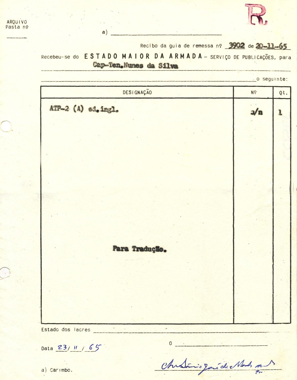 00456 965-11-23 cópia do meu recibo do manual NATO ATP-2 para eu o traduzir