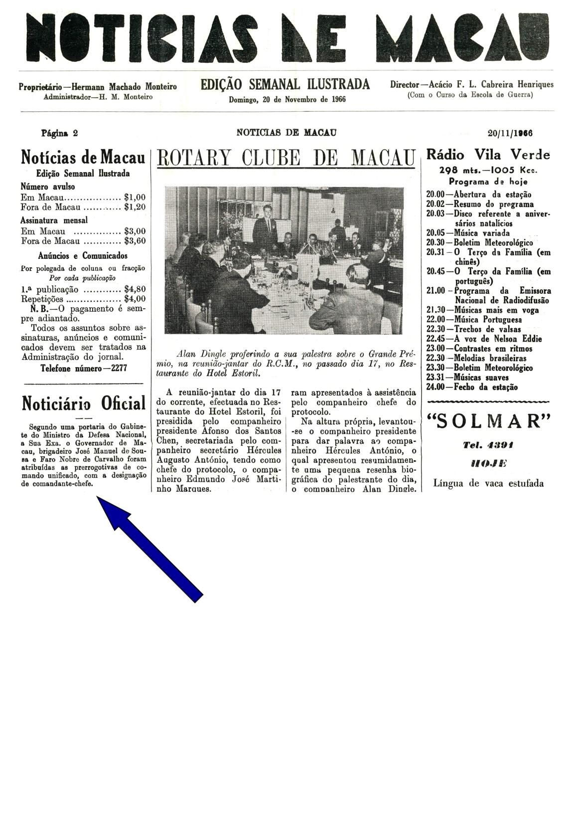 00465 966-11-20 notícia de Governador ter sido nomeado Comandante-Chefe por Portaria -Jornal Notícias de Macau pág 2