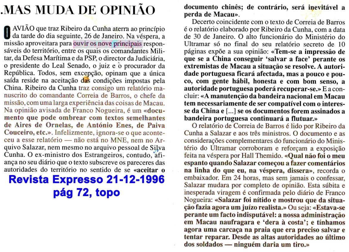 00486 996-12-21 reacção de Salazar à carta de Correia de Barros segundo semanário Expresso