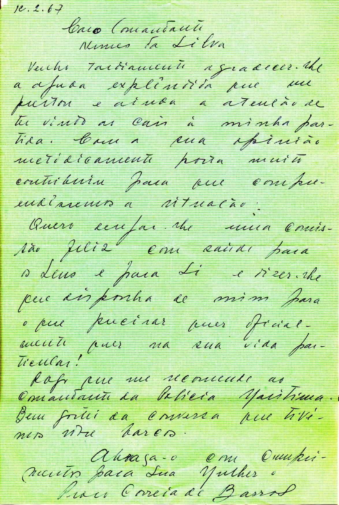 00489 967-02-12 carta de Correia de Barros agradecendo minha intervenção decisiva para a resolução dos acontecimentos de 66-67