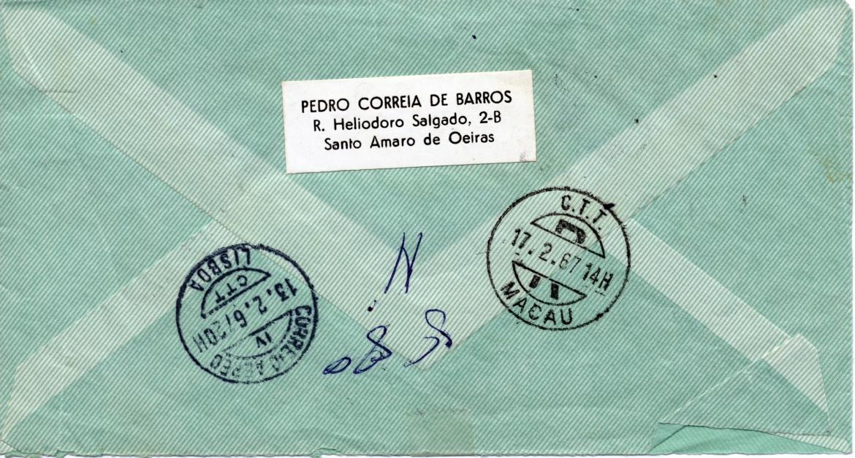 00492 967-02-12 envelope da carta de C de Barros de 12-2-67 verso