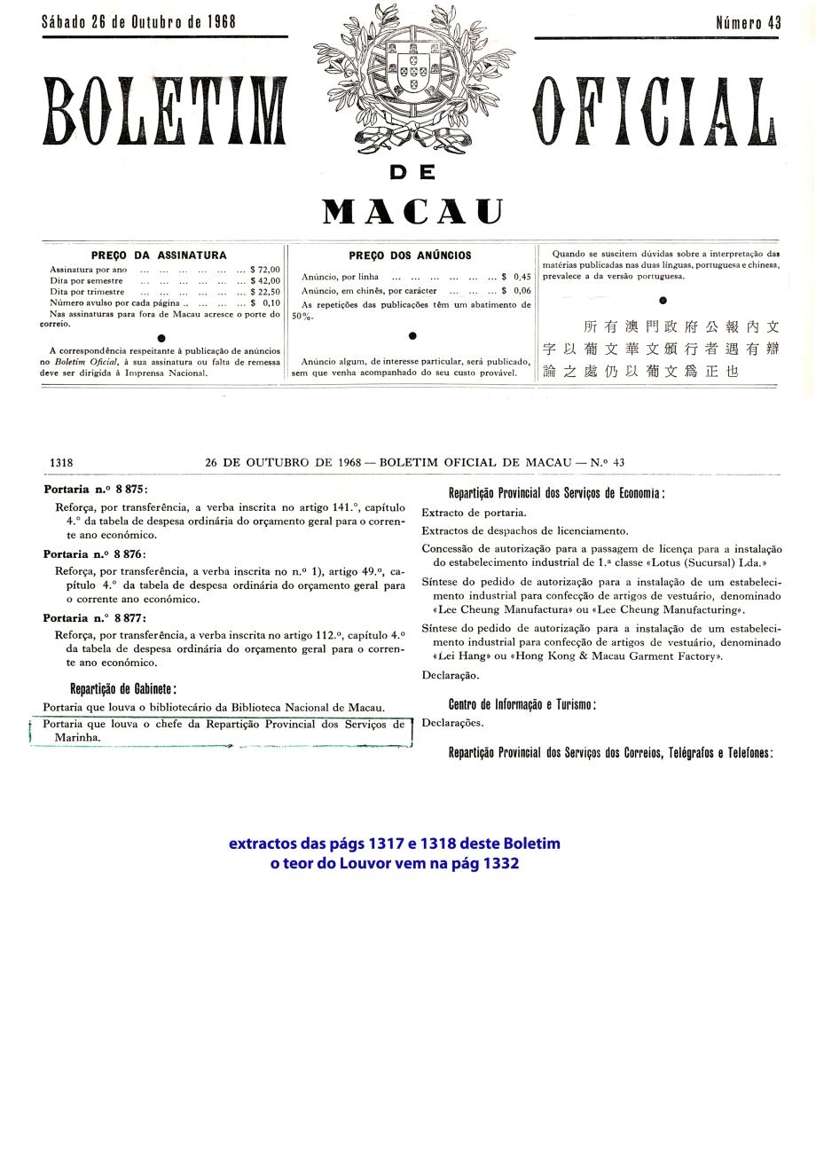 00502 968-10-26 Louvor do Governador de Macau -Boletim Oficial de Macau 43 - extractos págs 1317 e 1318