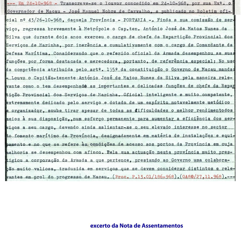 00507 968-10-24 Louvor do Governador de Macau -extracto da Nota de Assentamentos