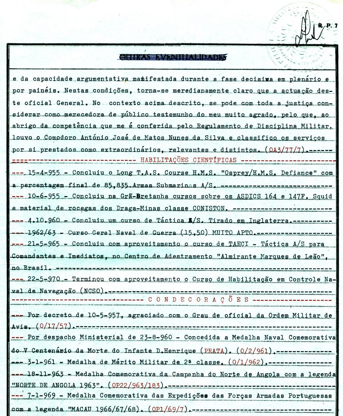 00509 969-01-07 Medalha Comemorativa das Expedições das Forças Armadas Portuguesas -legenda MACAU 1966-67-68 -Nota de Assentamentos