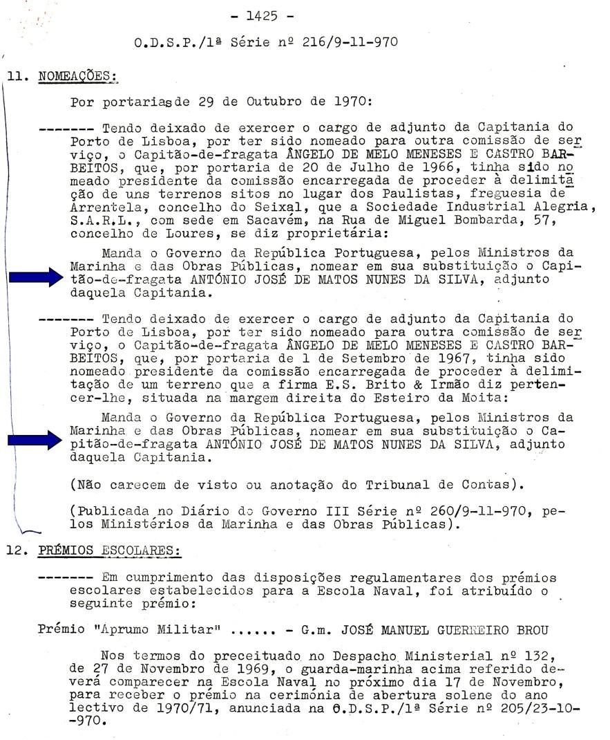 00544 970-10-29 Presidente de 2 comissões de delimitação de terrenos do Domínio Público Marítimo -ODSP 1ª S 216