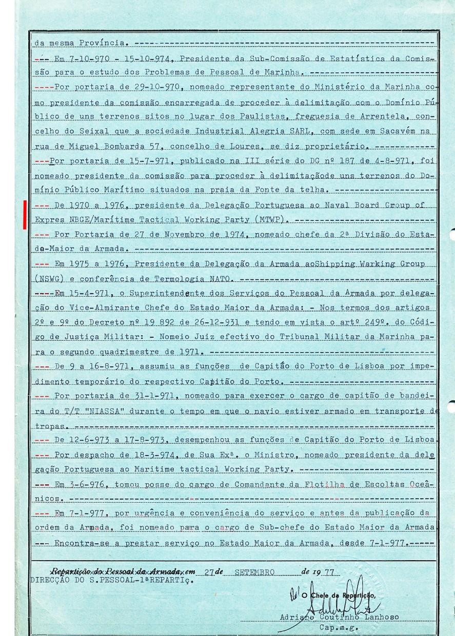 00548 De 1970 a 1976 Presidente da Delegação Portuguesa ao NBGE-MTWP -Nota de Assentamentos