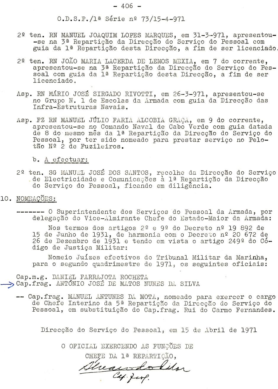 00557 971-04-15 Juíz efectivo do Tribunal Militar de Marinha para o 2º quadrimestre de 1971 -ODSP 1ª S 73 de 15-4