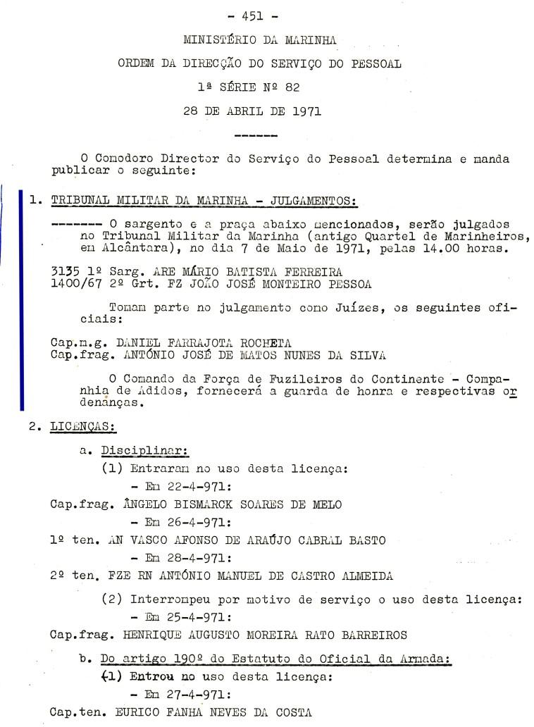 00558 971-05-07 Juíz de julgamento de 1 sargento e uma praça no Tribunal Militar de Marinha em 7-5-71 -ODSP 1ª S 82 de 28-4