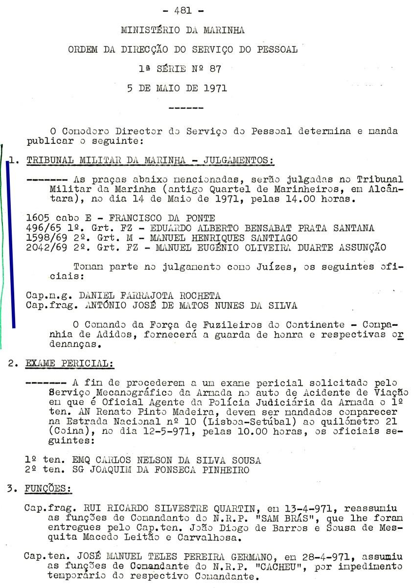 00559 971-05-14 Juíz de julgamento de 4 praças no Tribunal Militar de Marinha em 14-5-71 -ODSP 1ª S 87 de 5-5