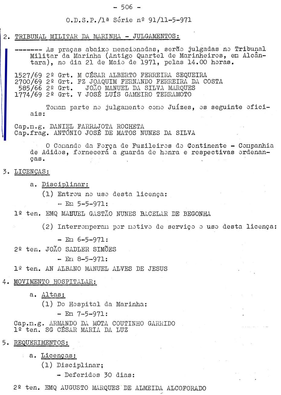 00560 971-05-21 Juíz de julgamento de 4 praças no Tribunal Militar de Marinha em 21-5-71 -ODSP 1ª S 91 de 11-5