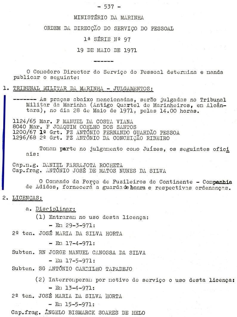 00561 971-05-28 Juíz de julgamento de 4 praças no Tribunal Militar de Marinha em 28-5-71 -ODSP 1ª S 97 de 19-5