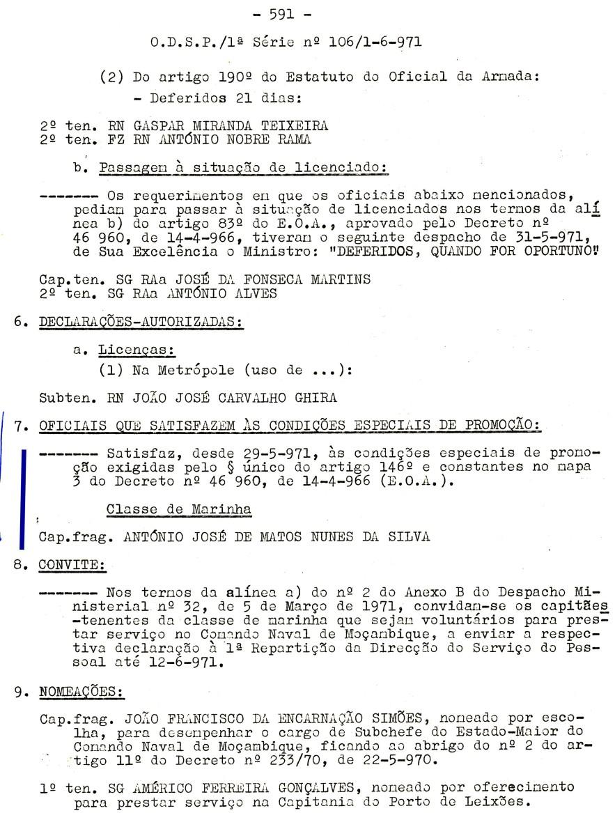 00563 971-06-01 Cap Frag Nunes da Silva satisfaz condições especiais de promoção desde 29-5-71 -ODSP 1ª S 106 1-6