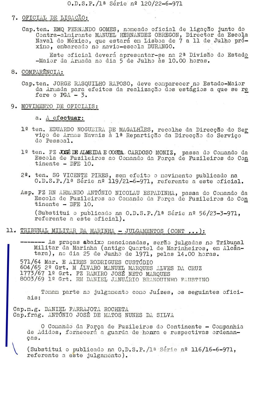 00568 971-06-25 Juíz de julgamento de 4 praças no Tribunal Militar de Marinha em 25-6-71 -ODSP 1ª S 120 de 22-6