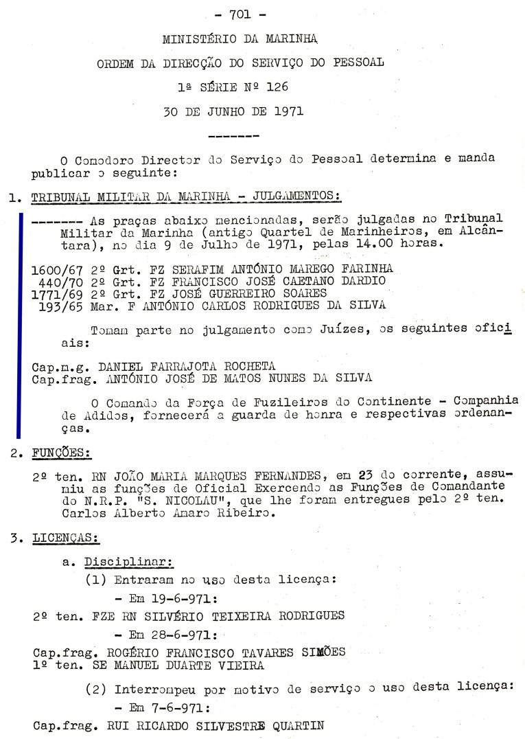 00569 971-07-09 Juíz de julgamento de 4 praças no Tribunal Militar de Marinha em 9-7-71 -ODSP 1ª S 126 de 30-6