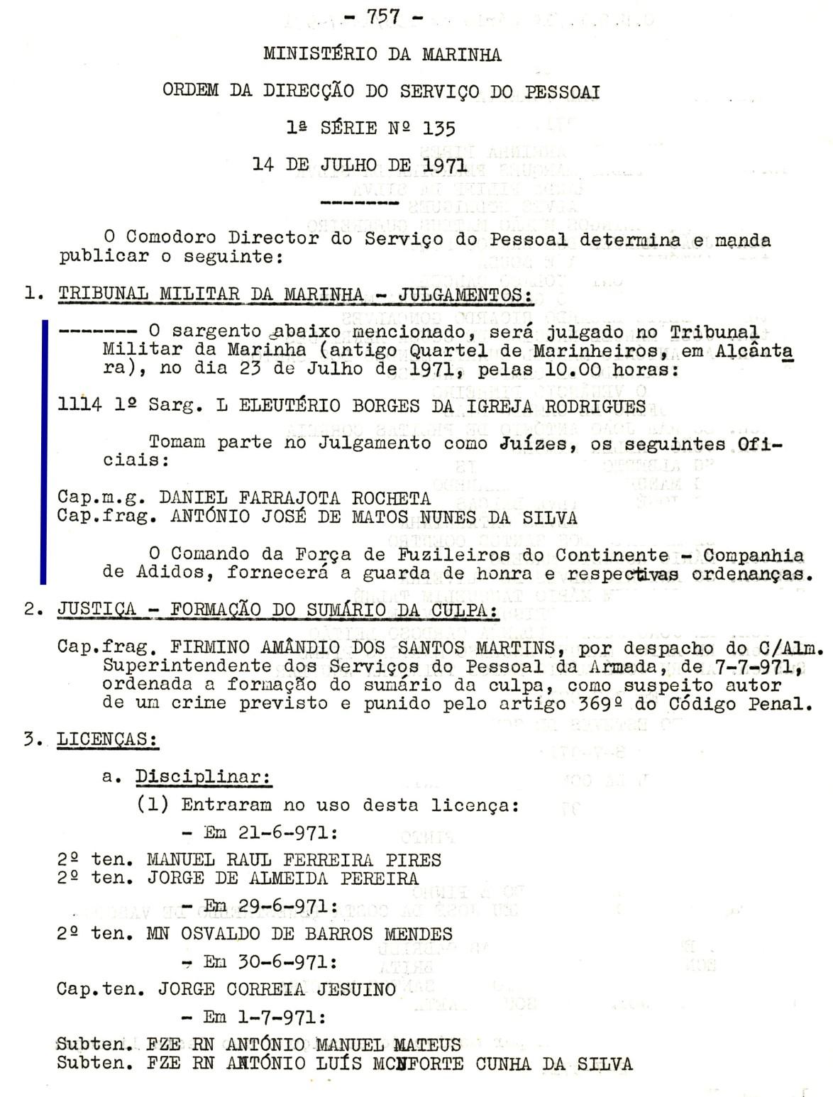 00571 971-07-23 Juíz de julgamento de 1 sargento no Tribunal Militar de Marinha em 23-7-71 -ODSP 1ª S 135 de 14-7-71