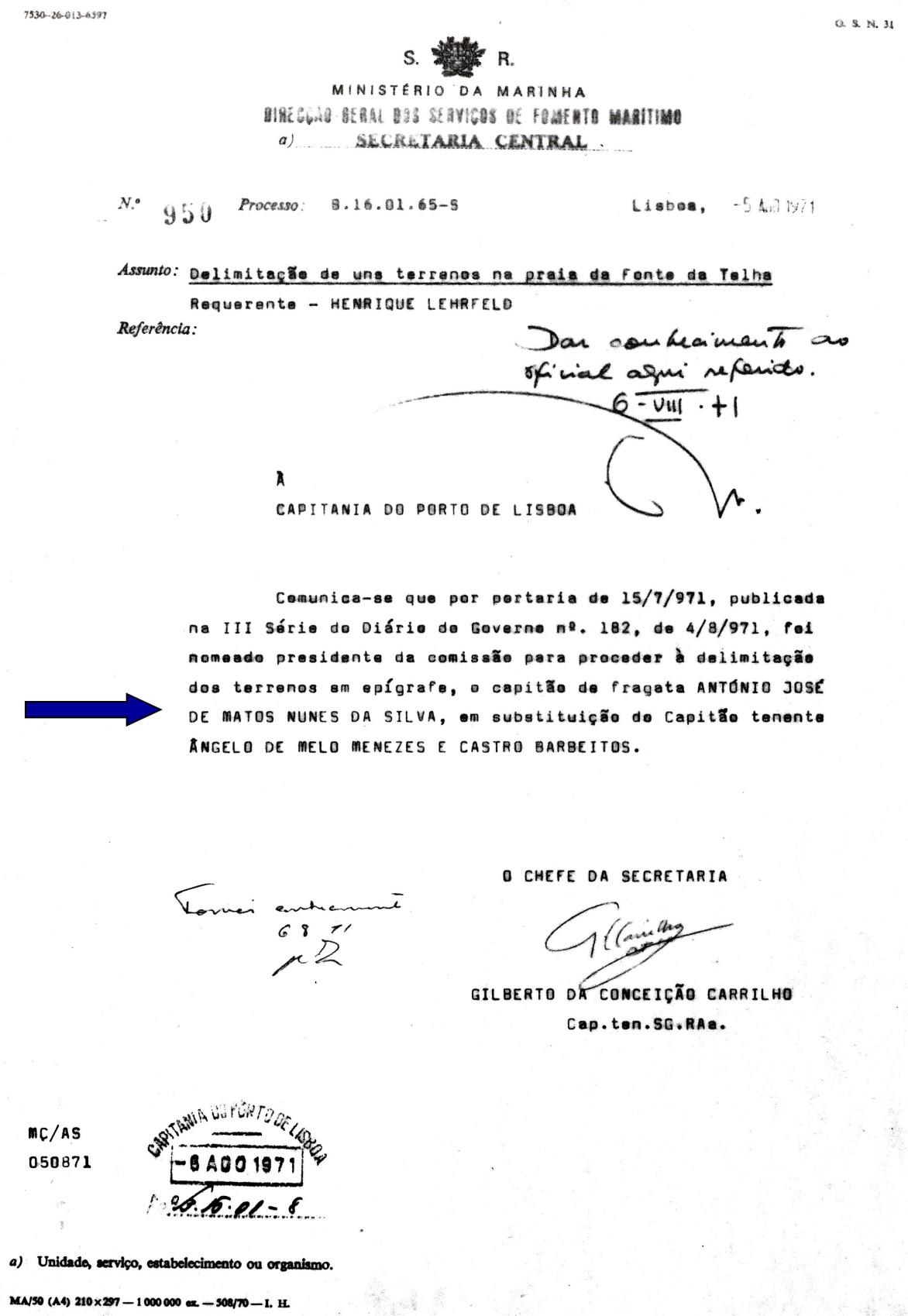 00575 971-08-04 Presidente de comissão de delimitação de terrenos do Domínio Público Marítimo -Port de 15-7-1971