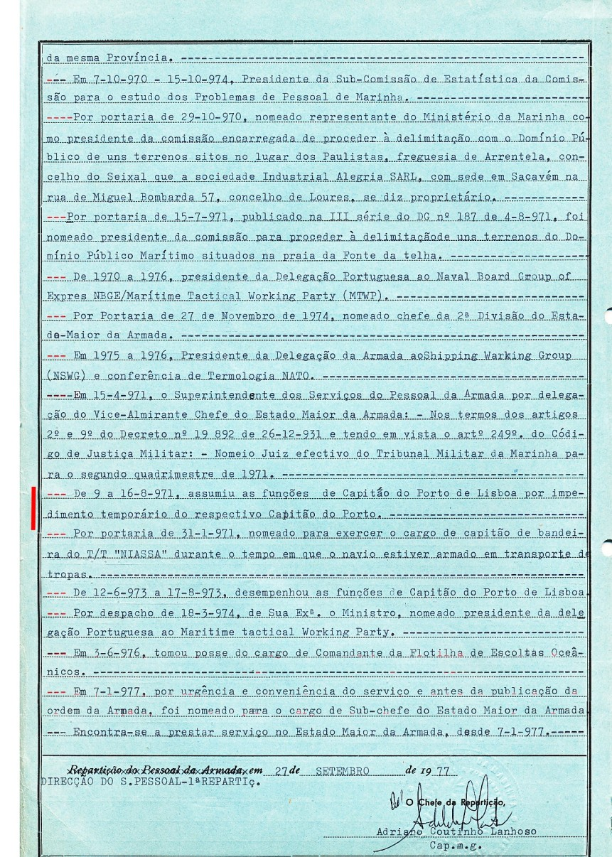 00579 de 9 a 16-08-1971 funções de Capitão do Porto de Lisboa no impedimento do Capitão do Porto -Nota de Assentamentos