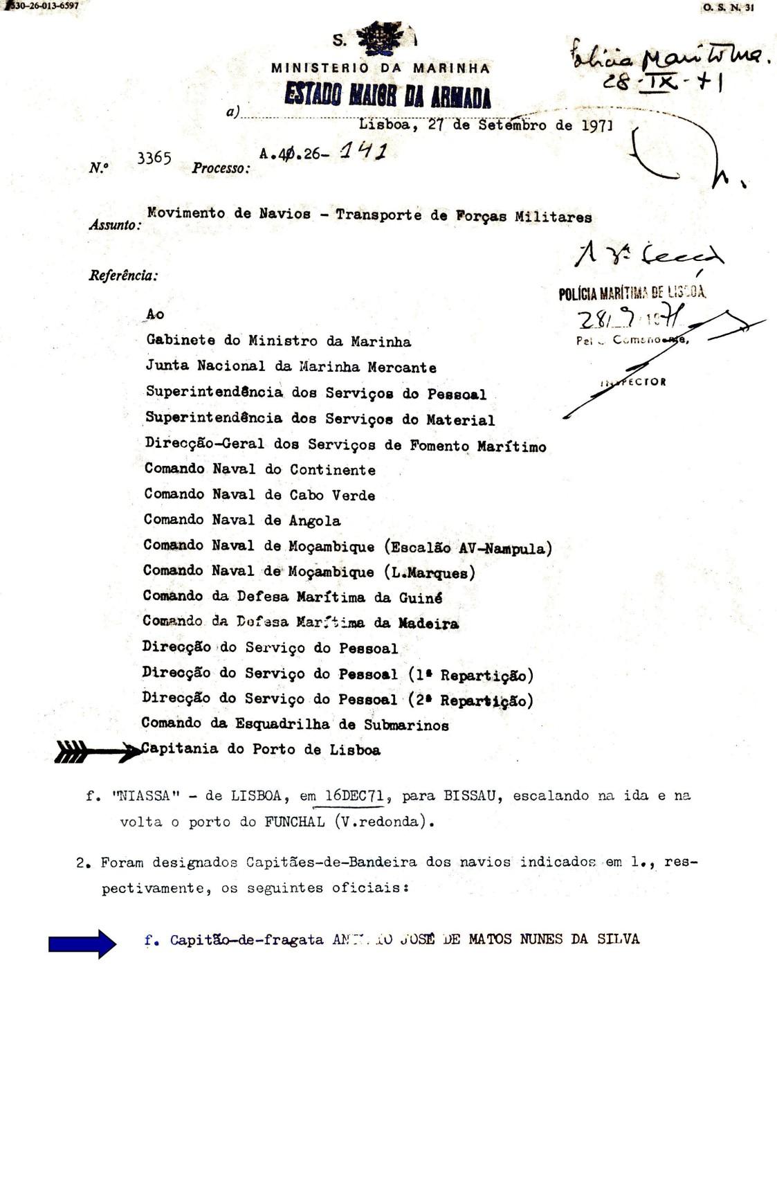 00581 971-12-16 designado Capitão-de-Bandeira do transporte de Forças Militares no NIASSA para Bissau