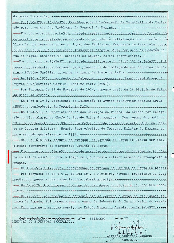 00588 Por Portaria de 31-1-1971 nomeado Capitão-de-Bandeira do NIASSA - Nota de Assentamentos