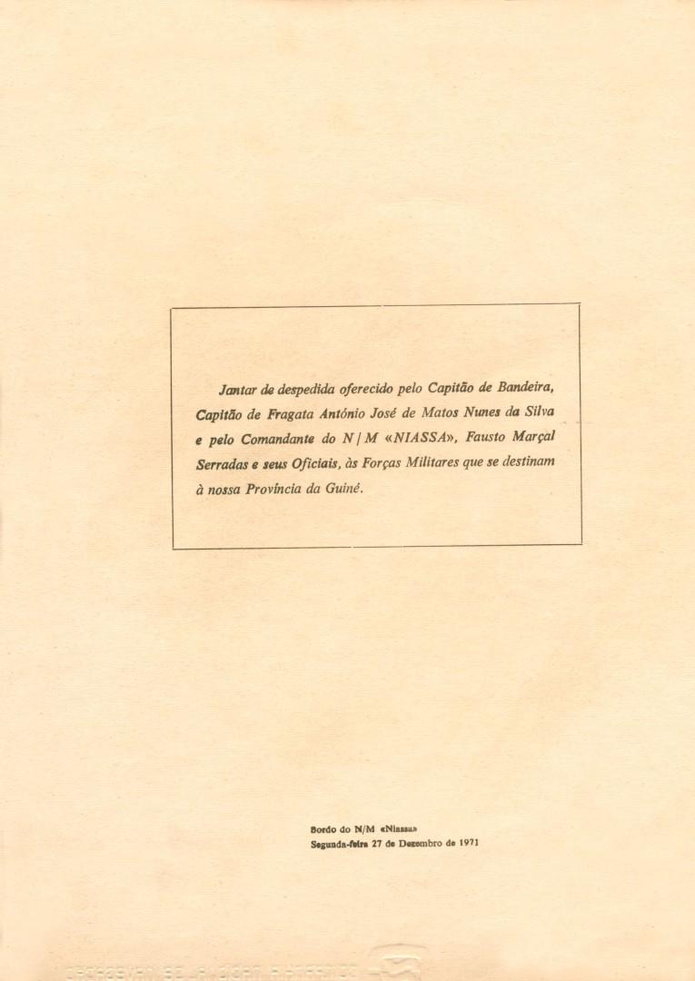 00592 971-12-27 ementa do jantar de despedida dos militares transportados à Guiné