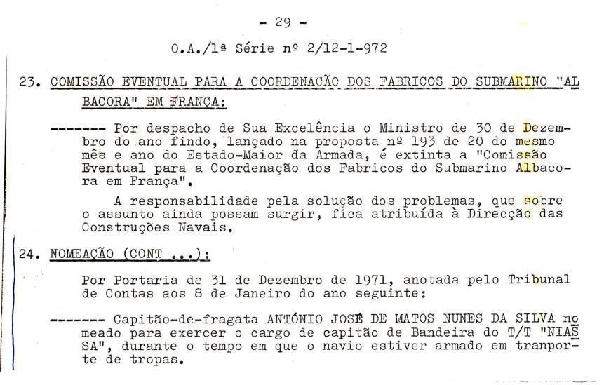 00603 971-12-31 Portaria de nomeação para cargo Capitão de Bandeira do Niassa OA 1S 2 de 12-1-1972