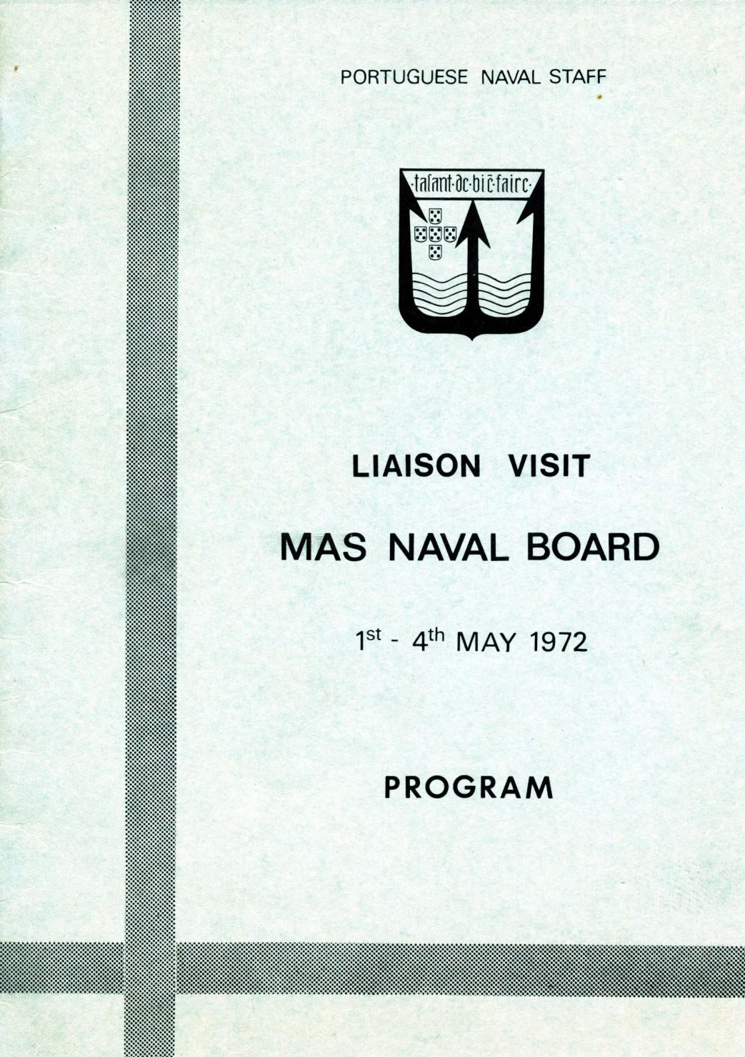 00611 972-05-01 Programa da visita do MAS Naval Board a Lisboa de 1 a 4-5-1972