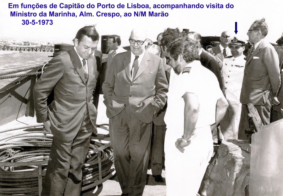 00627 973-05-30 Em funções de Capitão do Porto de Lisboa, acompanhando visita do Ministro da Marinha, Alm. Crespo, ao N M Marão
