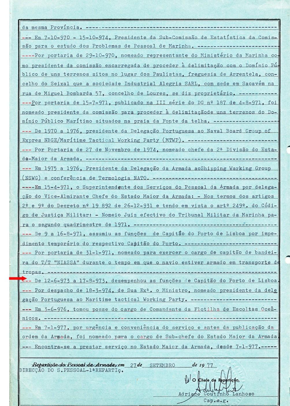 00629 Desempenhei as funções de Capitão do Porto de Lisboa de 12-6 a 17-7-1973 - Nota de Assentamentos