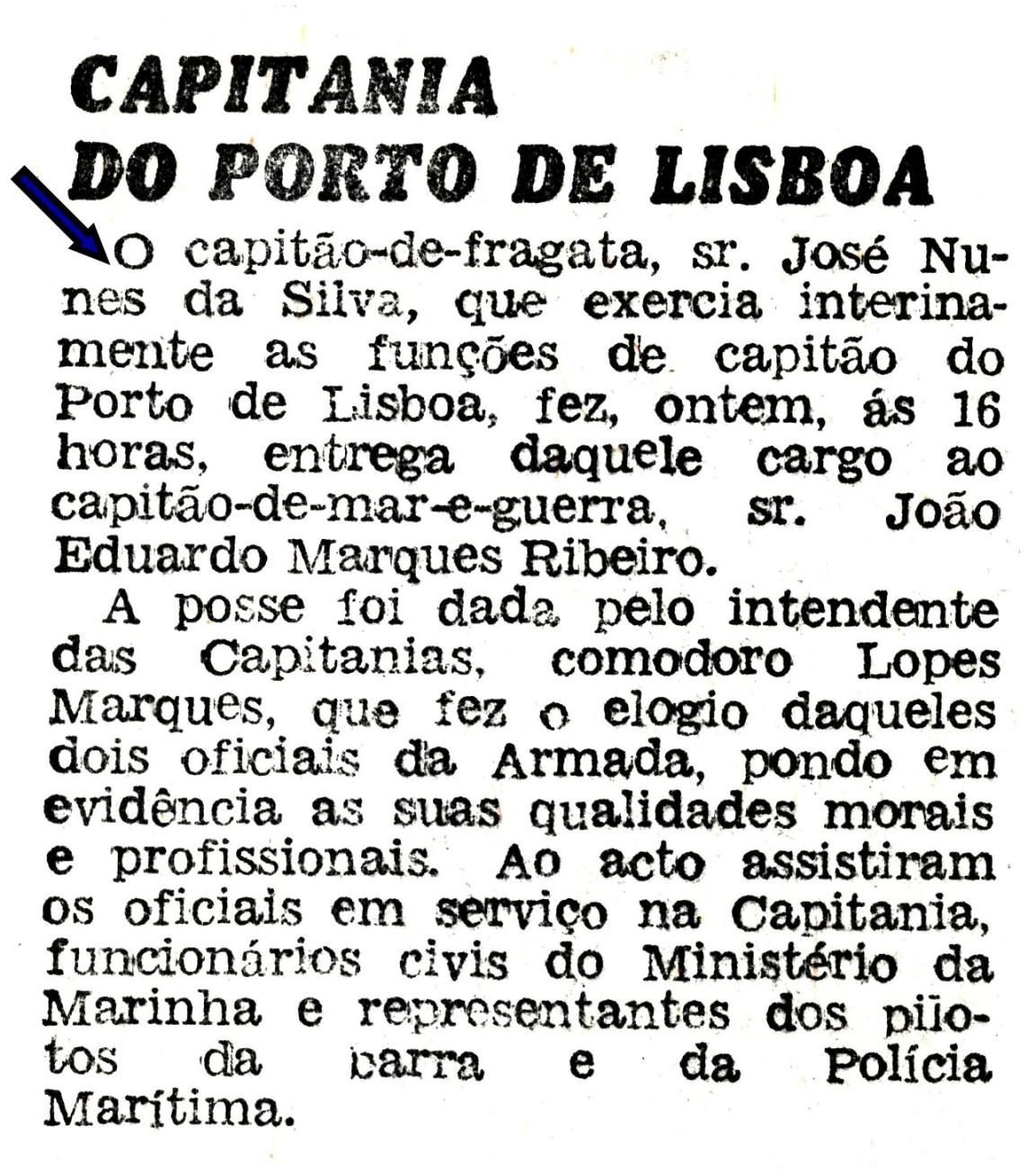 00633 973-08 notícia de jornal da minha entrega das funções de Capitão do Porto de LIsboa e da posse do novo Capitão do Porto