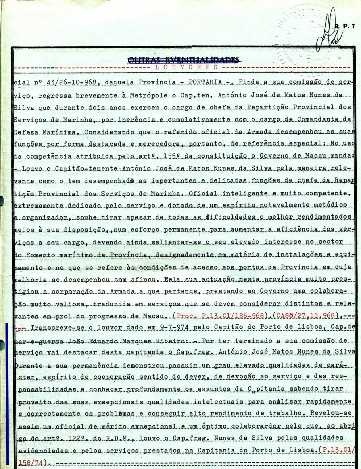 00646 974-07-09 Louvor que me foi concedido pelo Capitão do Porto de Lisboa -Nota de Assentamentos