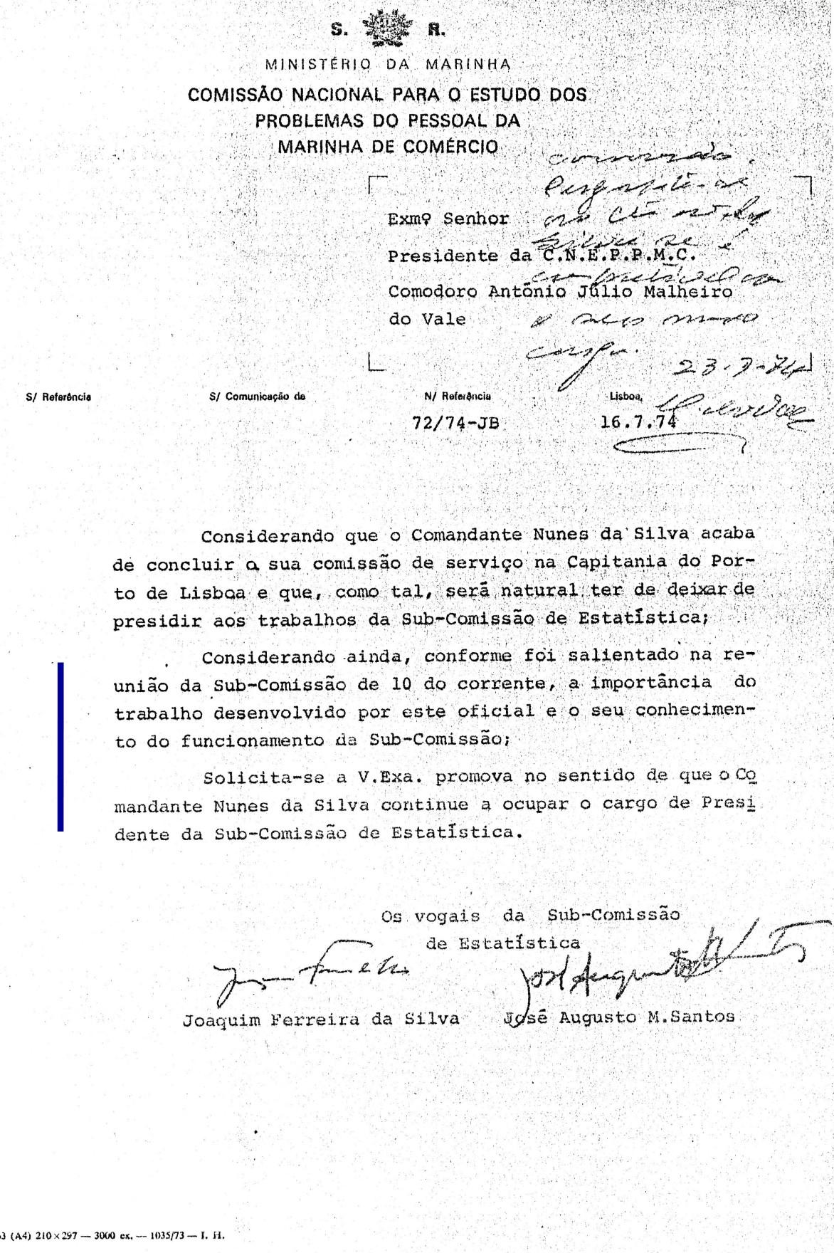 00649 974-07-16 os membros da Sub Comissão de Estatística solicitam ao Presidente da CNEPPMC que eu contin_20101113235512321