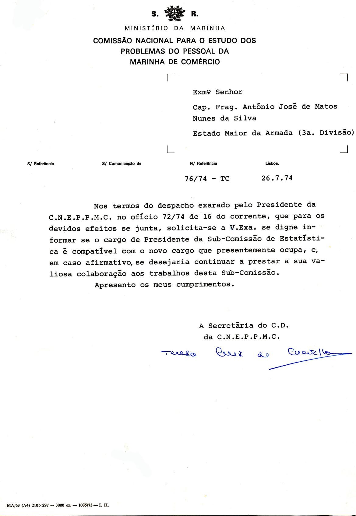 00650 974-07-26 o Presidente da CNEPPMC pergunta-me se posso e desejo continuar presidindo à Sub-Comissão _20101113235512321