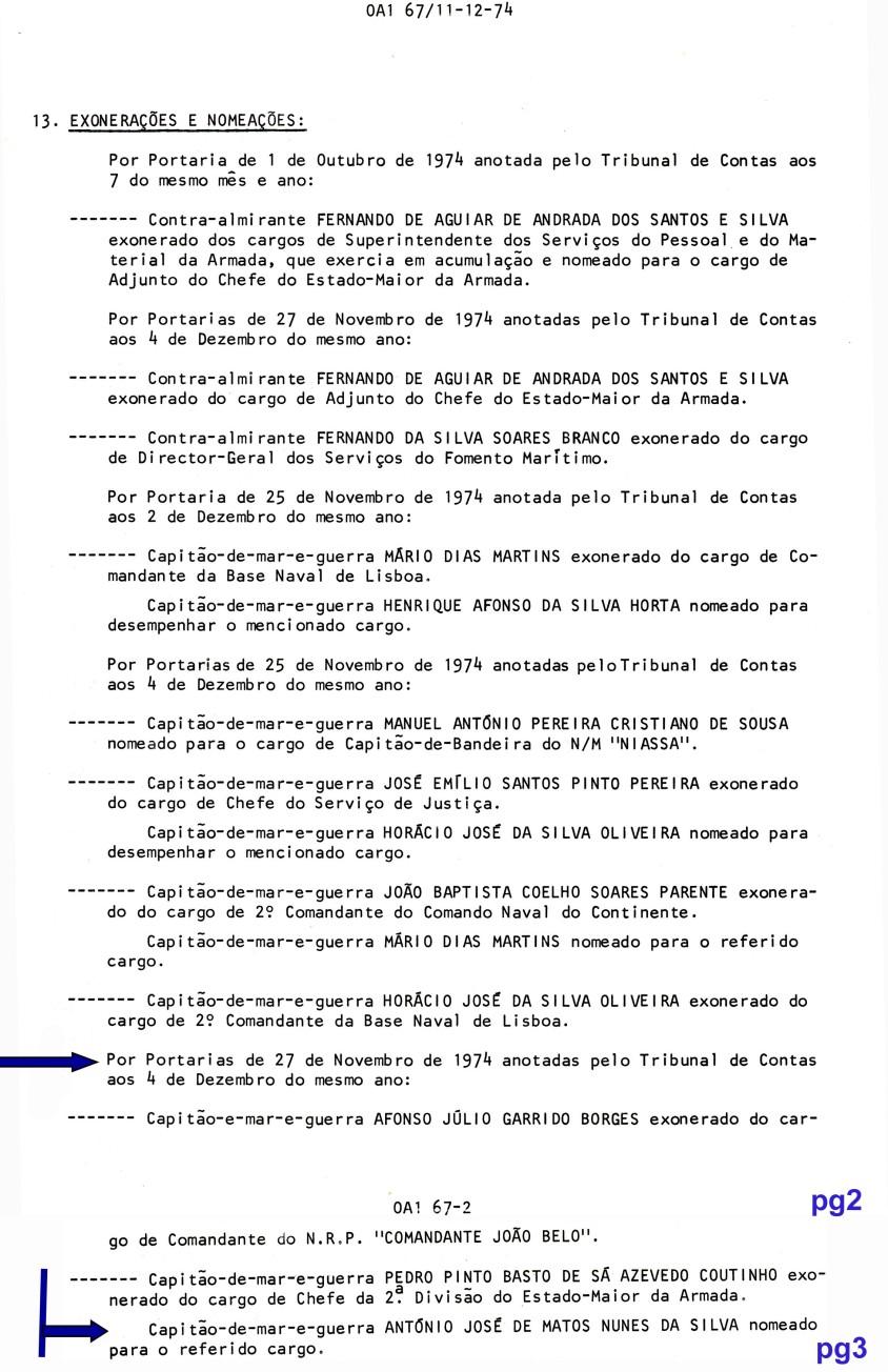 00665 974-11-27 nomeado para cargo de Chefe da II Divisão do EMA -Port de 27-11 OA1 67 de 11-12-74