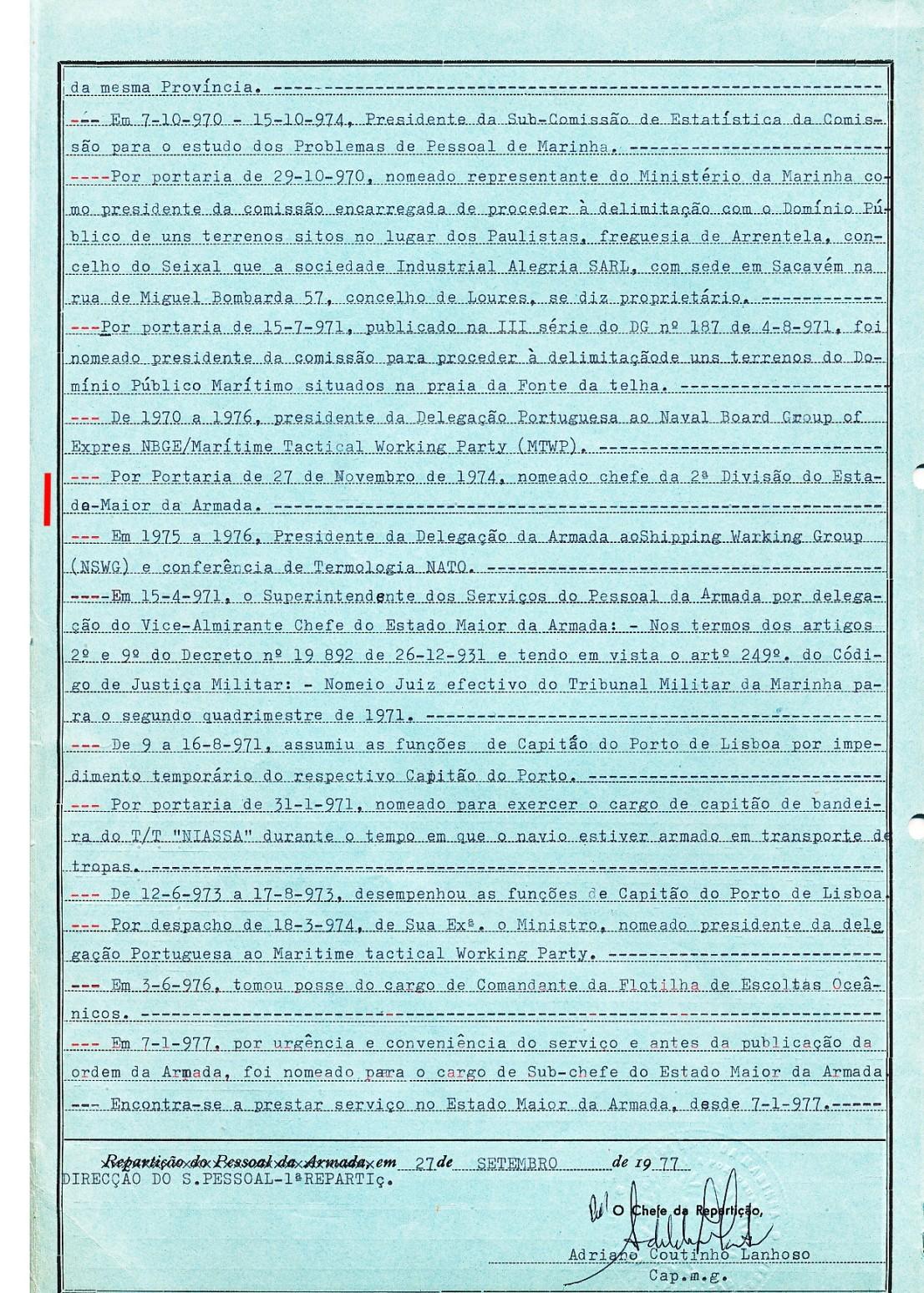 00666  nomeado para cargo de Chefe da II Divisão do EMA -Portaria de 27-11-1974 -Nota de Assentamentos